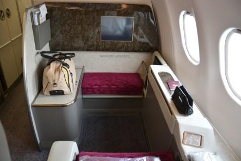 Qatar Airways First Class - Seat from behind