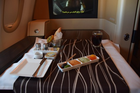 Etihad Airways Diamond First Class - DInner appetizer