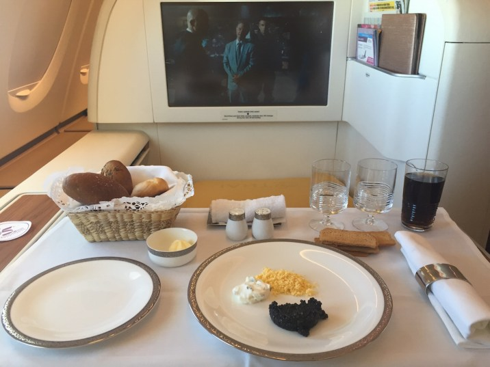 Thai Airways A380 Royal First Class - Caviar arrangement