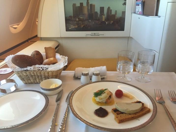 Thai Airways A380 Royal First Class - Foie gras on gingerbread