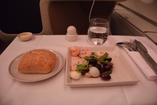 Singapore Airlines A380 Business Class - Dinner starter