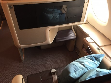 Singapore Airlines A380 Business Class - Window seat from above