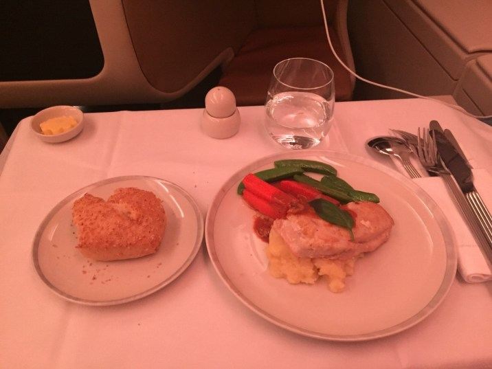 Singapore Airlines A380 Business Class - Dinner main course