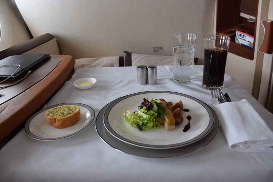 Singapore Airlines A380 Suites - Appetizer duck foie gras