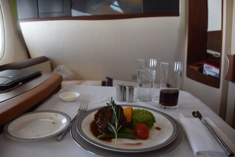 Singapore Airlines A380 Suites - Main dish grilled beef fillet