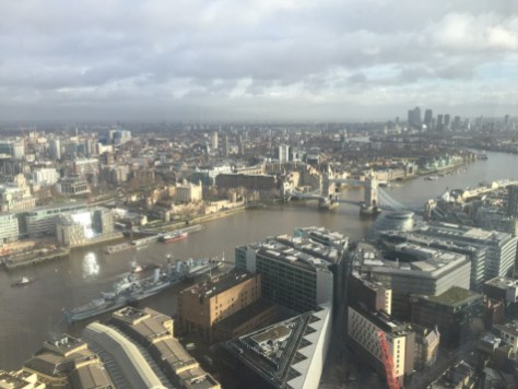 View over East London from the room