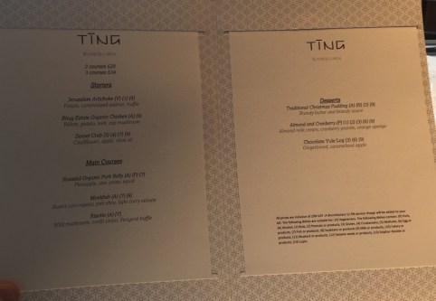 Ting restaurant - Set lunch menu