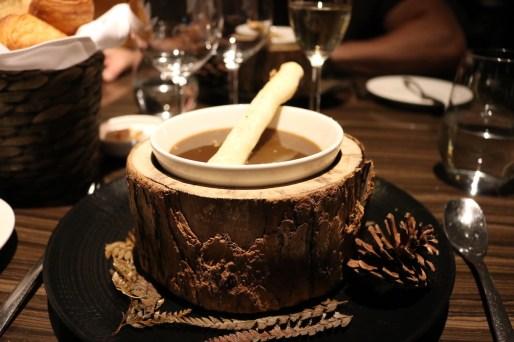 Starter - Cèpes consommé (mushroom soup)
