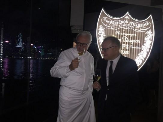 Congratulating Alain Ducasse and Richard Geoffroy