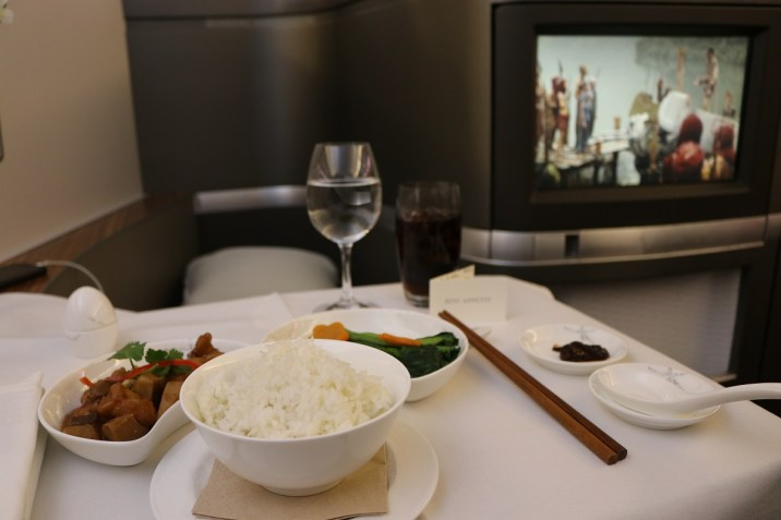 Main dish from Cathay Pacific First Class lunch