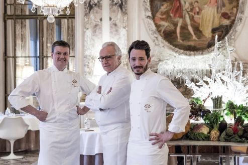 The three masters behind brunch at Le Meurice: Alain Ducasse, Jocelyn Herland, Cedric Grolet