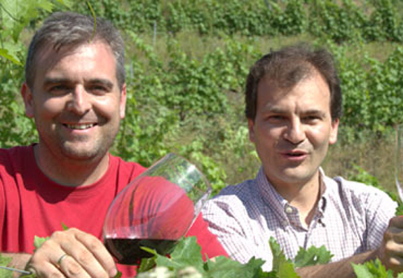 David Marco y José Luis Ruíz, el enólogo de la bodega
