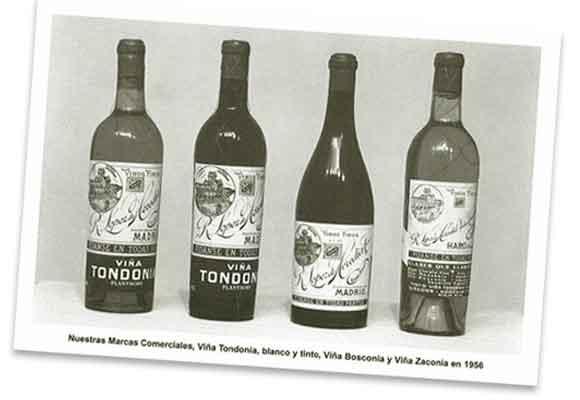Marcas comerciales de la bodega en 1956. Foto: Lopez de Heredia