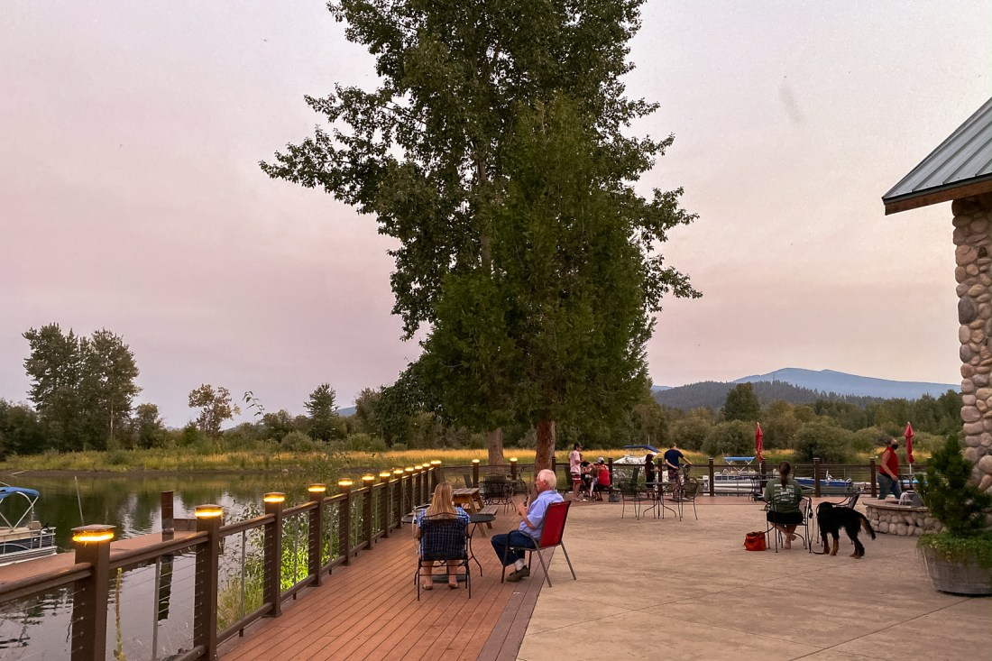 Harriman Springs Resort Back Patio at Dusk