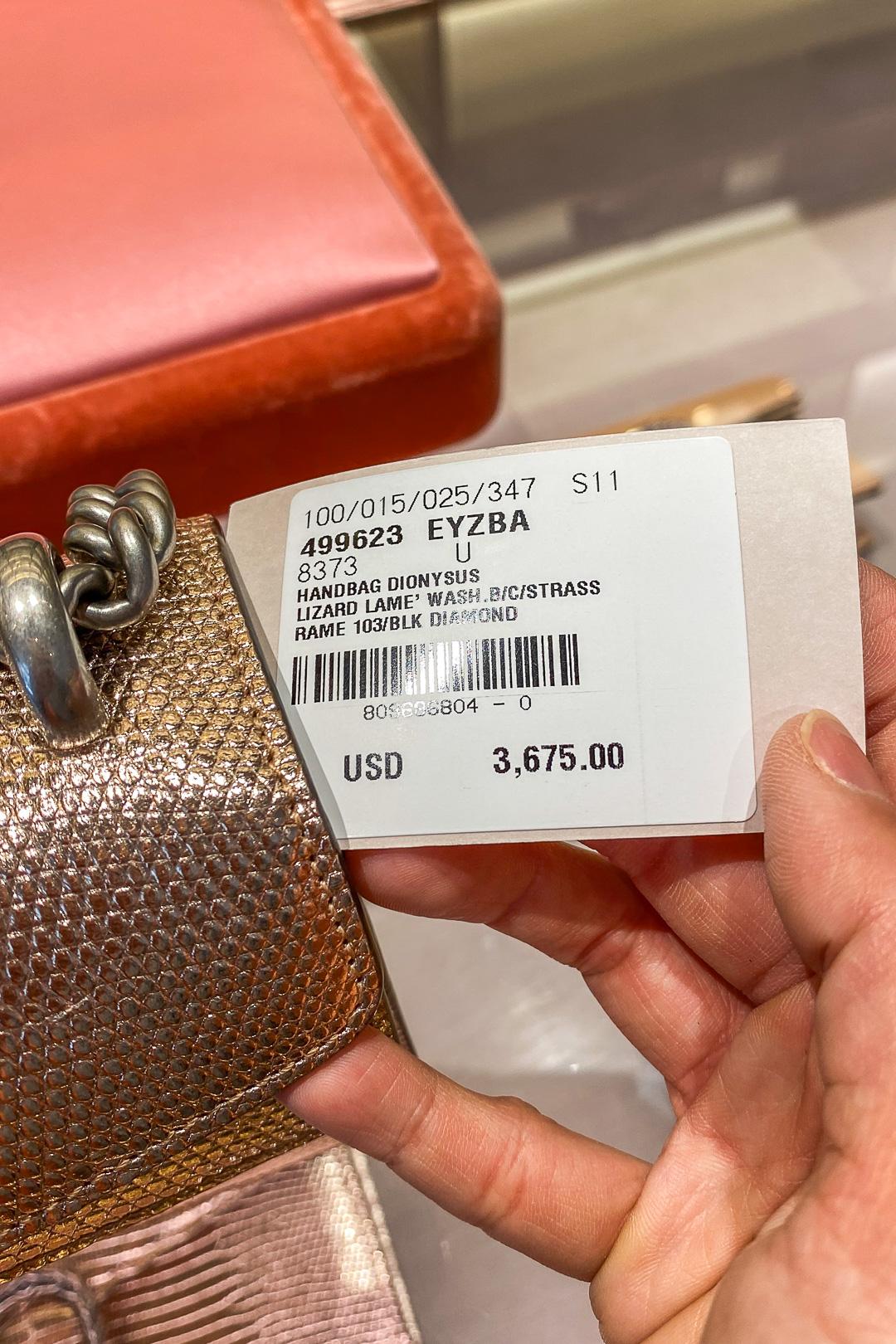 Gucci Hawaii Waikiki Dionysus Metallic Lizard Small Shoulder Bag Price