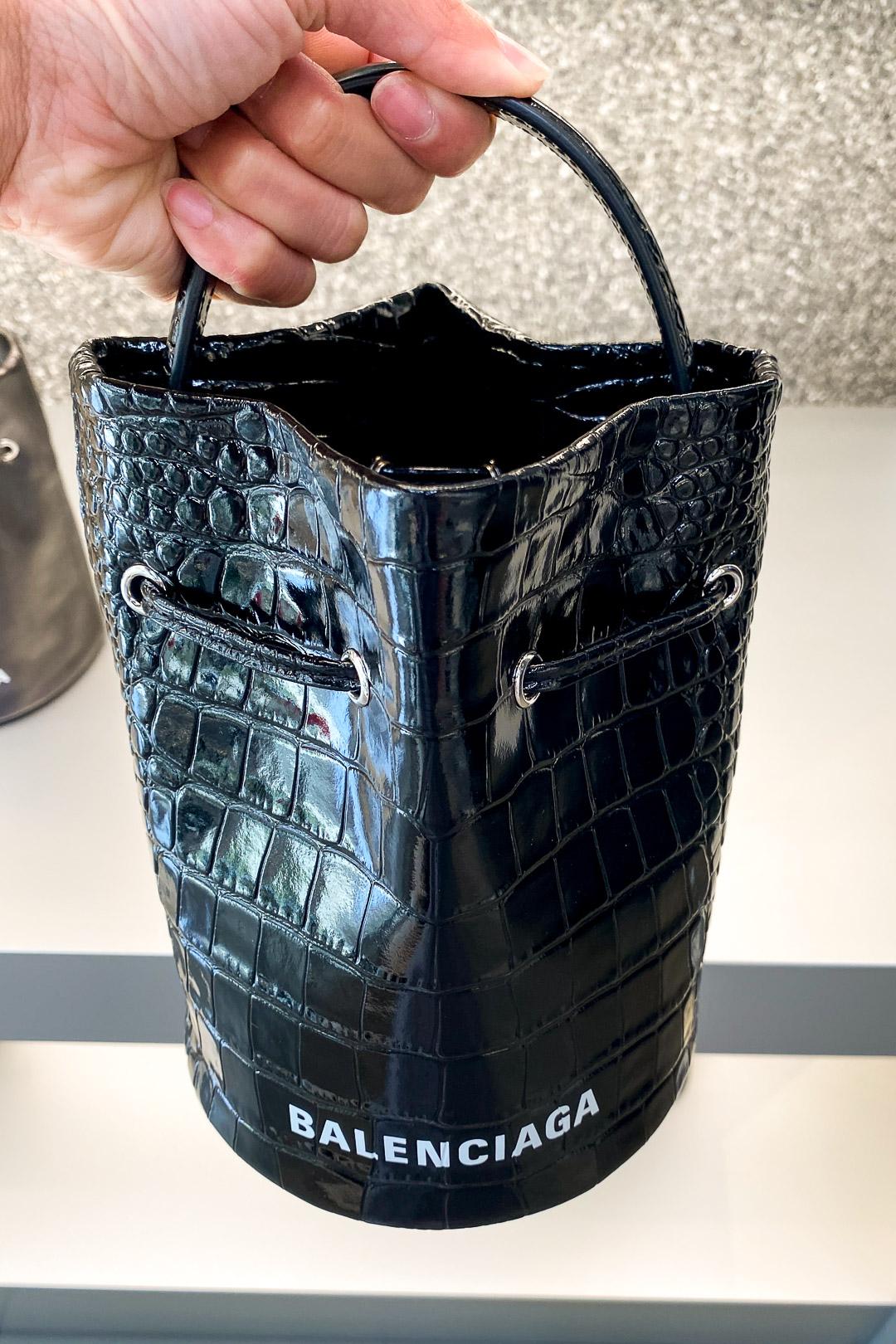 Balenciaga Women's Black Shiny Croc XS Everyday Bucket Bag