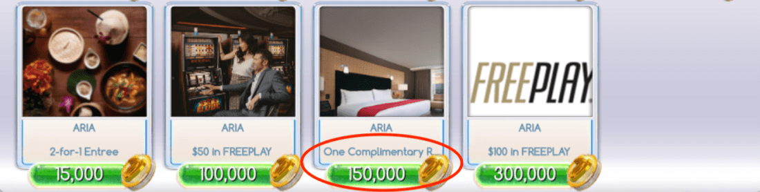 MyVEGAS Loyalty Point Requirement for Aria