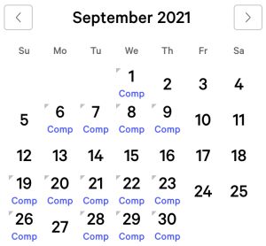 Bellagio myVEGAS Rewards Calendar (September 2021)