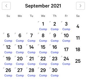 MGM Grand myVEGAS Rewards Calendar (September 2021)