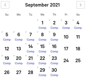 Aria myVEGAS Rewards Calendar (September 2021)