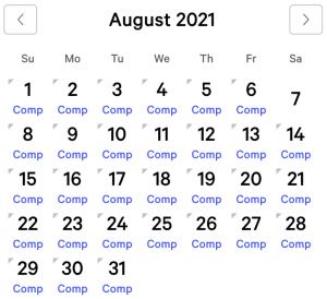 NY NY myVEGAS Rewards Calendar (August 2021)