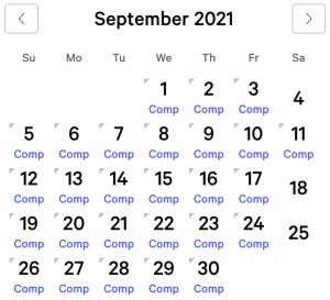 NY NY myVEGAS Rewards Calendar (September 2021)