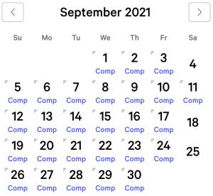 Luxor myVEGAS Rewards Calendar (September 2021)