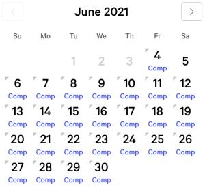 Excalibur myVEGAS Rewards Calendar (June 2021)