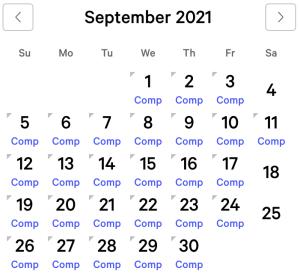Excalibur myVEGAS Rewards Calendar (September 2021)