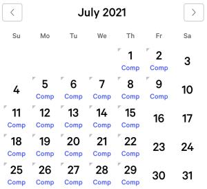 Aria myVEGAS Rewards Calendar (July 2021)