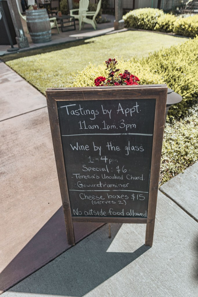 Balletto Vineyards' Menu and Tasting Times