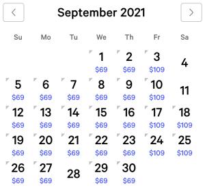 Mirage Exclusive Rates September 2021