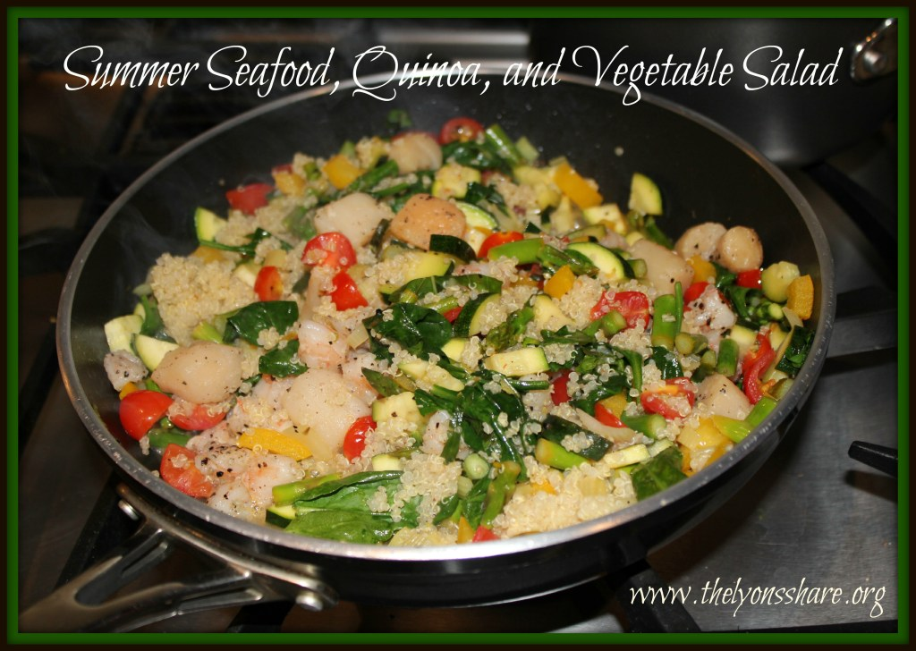 Summer seafood quinoa and vegetable salad