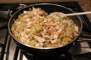 all ingredients stirring