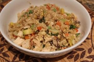 close up 2 healthy cauliflower chicken fried rice