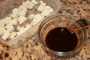tofu cubes and marinade
