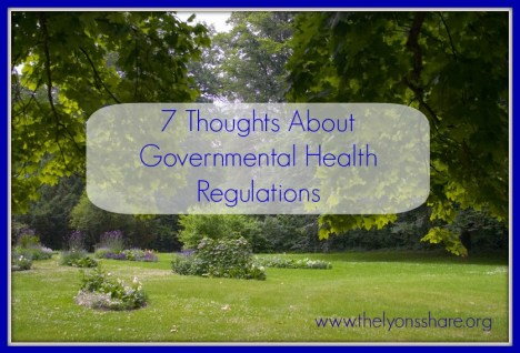 7 Thoughts about governmental health regulations