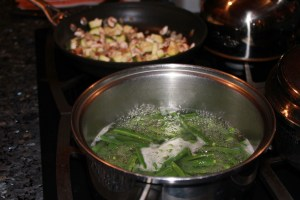 boiling green beans and sauteing veggies