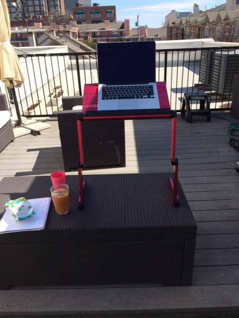 standing desk on roof