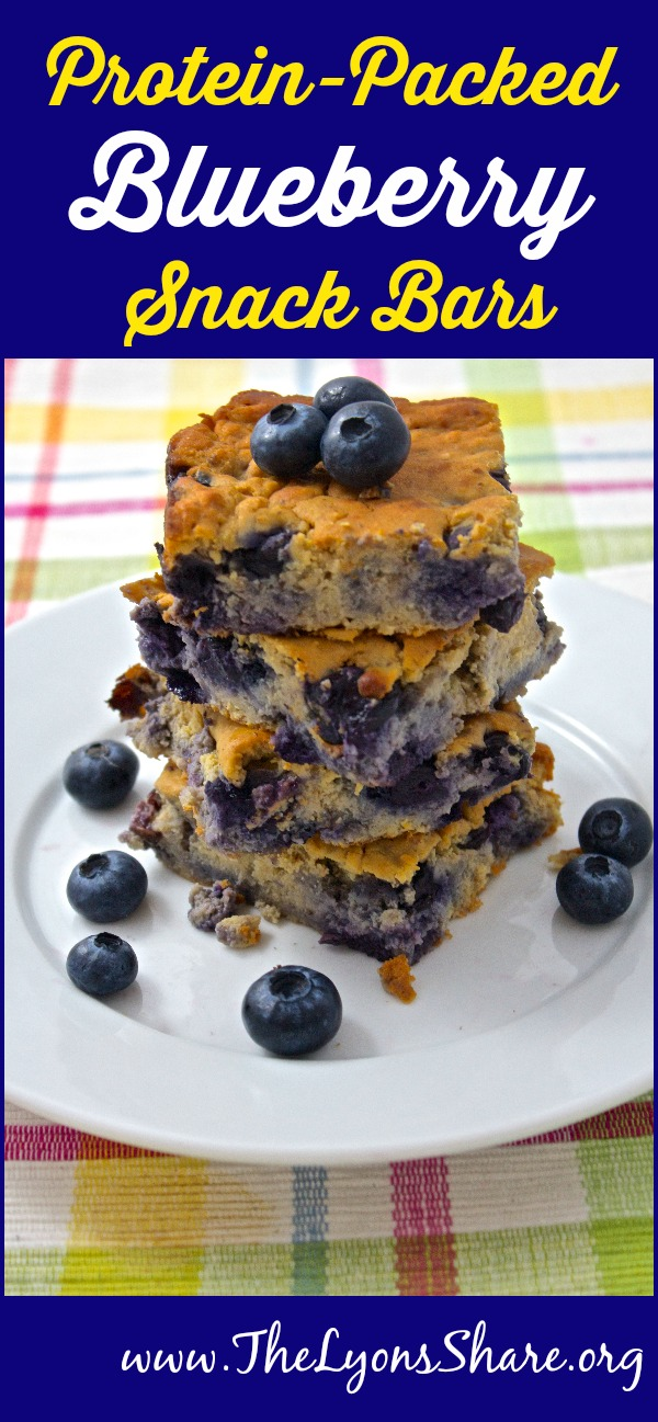 Protein-Packed Blueberry Snack Bars from The Lyons' Share ... homemade protein bars