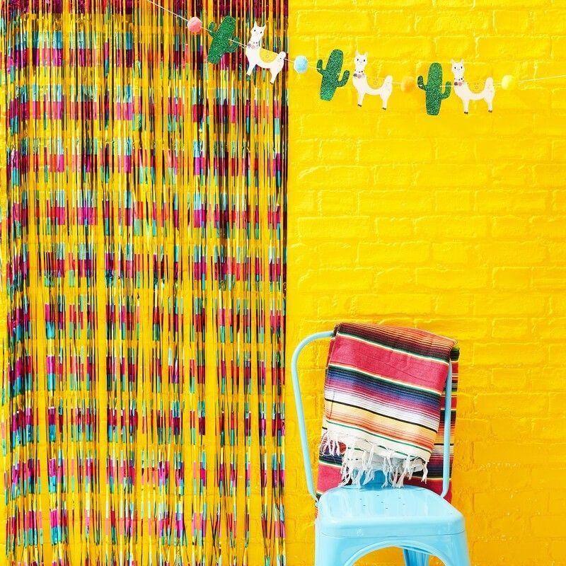 rideau de fil metallise multicolore