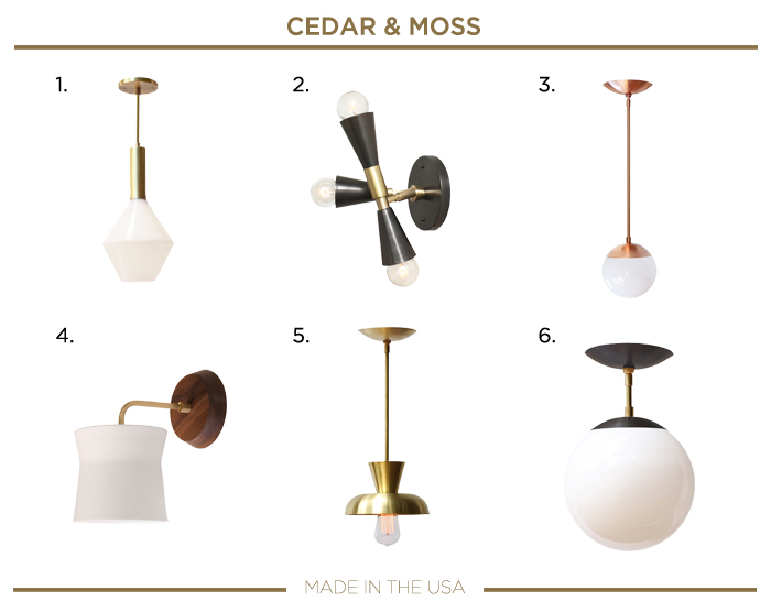Made in the USA LIGHTING fixtures_CEDAR AND MOSS