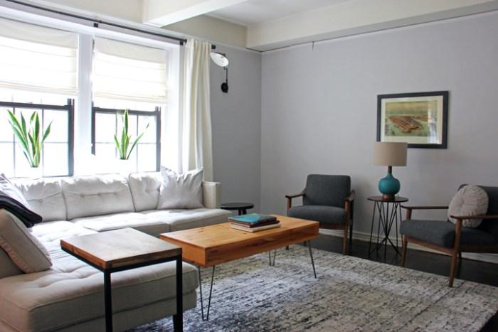 Inspiration for a living room using a West Elm sofa