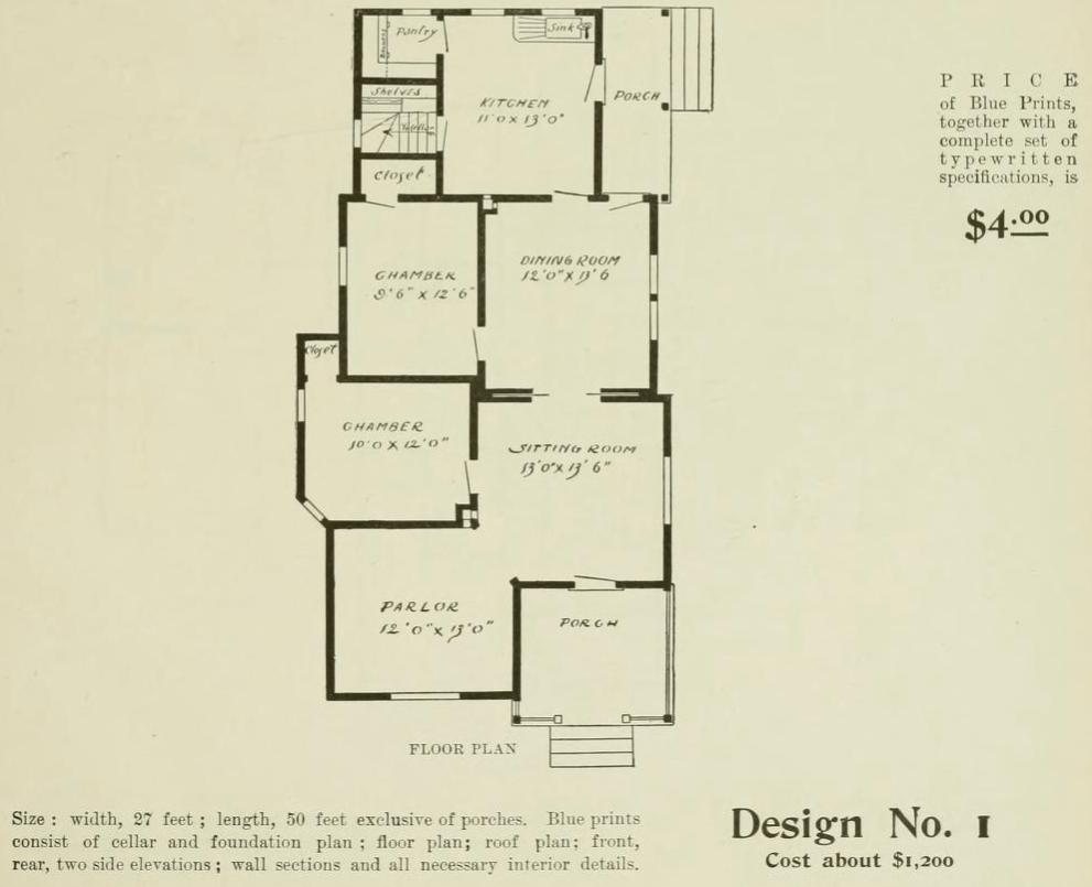 Design No. 1 Floor Plan from Radford Ideal Homes Folk Victorian Farmhouse 1903