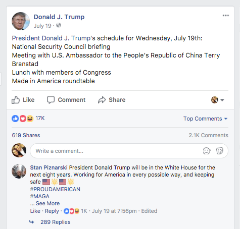 President Trump Facebook post about Made in America Roundtable with Margarita Mendoza and Kurt Uhlir 13b