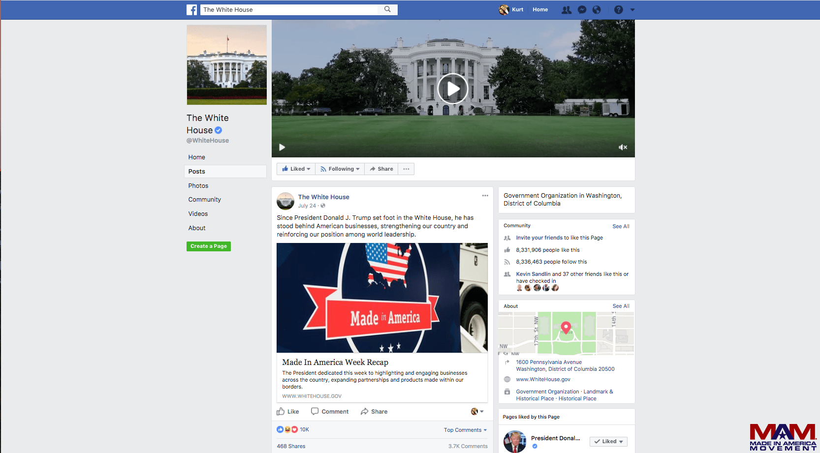 White House Facebook post on Made in America Week 8a