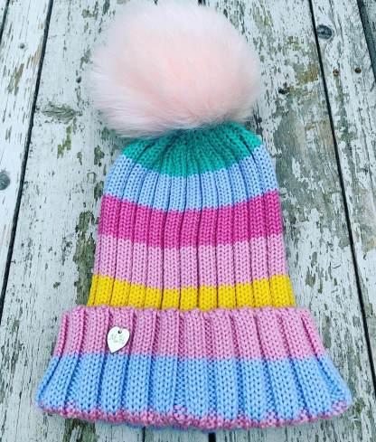 Merino Wool Rainbow Hat