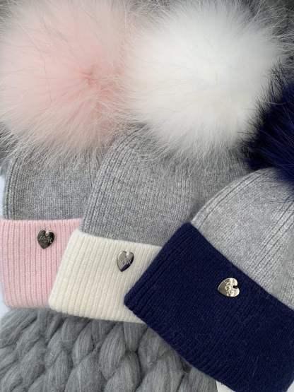 Kids Luxury Bobble Hat with fur pom pom