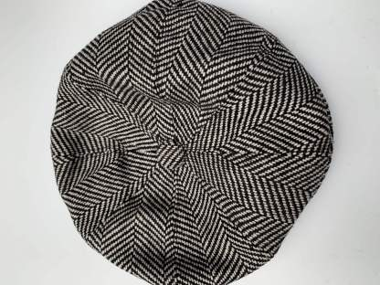 Black & White Herringbone Newsboy Cap