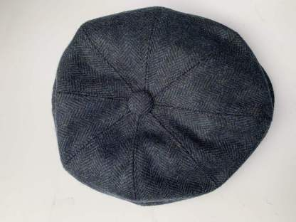 Blue Herringbone Newsboy Cap